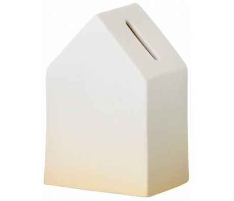 Ferm Living Moneybox white / yellow porcelain House of Money 5.5 x12cm