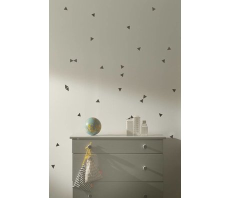 Ferm Living Wall Decal triangles black vinyl 72 pieces, black Mini Triangles