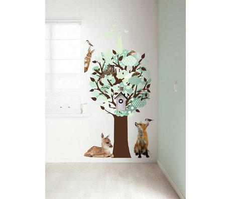 KEK Amsterdam Muursticker groen 95x150cm Glow-in-the-dark Tree muurfolie