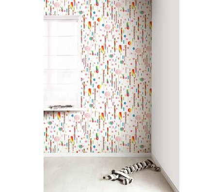 KEK Amsterdam Behang multicolour/wit Lolly's 146,1 x 280 cm 4m²
