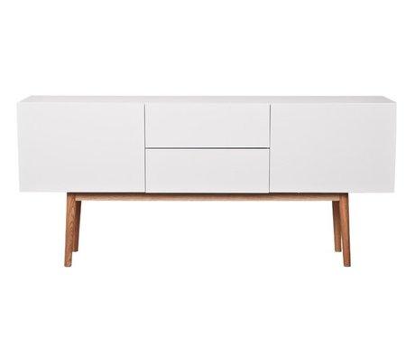 Zuiver TV-Schrank Schrank hoch auf weißem Holz, mit Schubladen und zwei Türen 160x40x71,5cm
