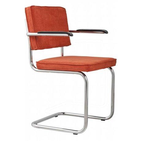 Zuiver Dining Stuhl mit Armlehne Orange stricken 48x48x85cm SESSEL RIDGE RIB ORANGE 19A