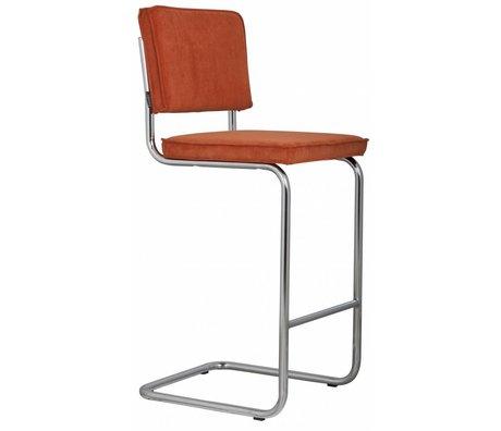 Zuiver Barstool orange knit 48x50x113cm RIDGE TOOL BARS RIB ORANGE 19A