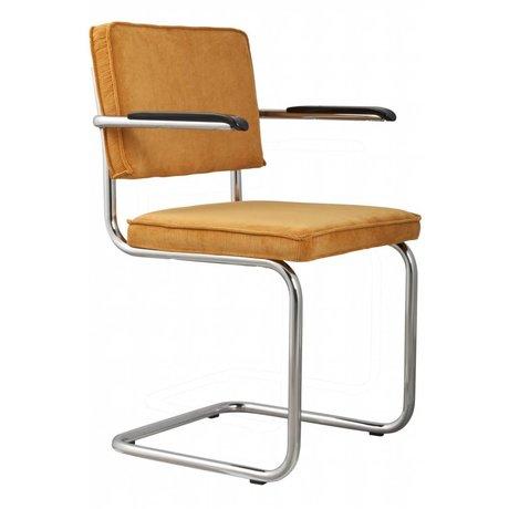 Zuiver Dining Stuhl mit Armlehne gelb stricken 48x48x85cm SESSEL RIDGE RIB YELLOW 24A