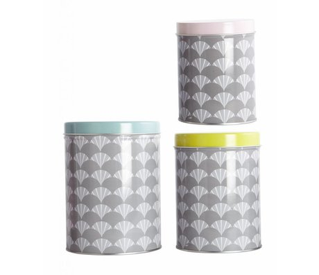 Housedoctor Cans set of three gray metal 9x12, 10x14 and 12x16cm, Tin Fan set