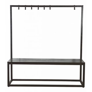 housedoctor bank kapstok zwart metaal hout 150x40x160cm bench rack black. Black Bedroom Furniture Sets. Home Design Ideas