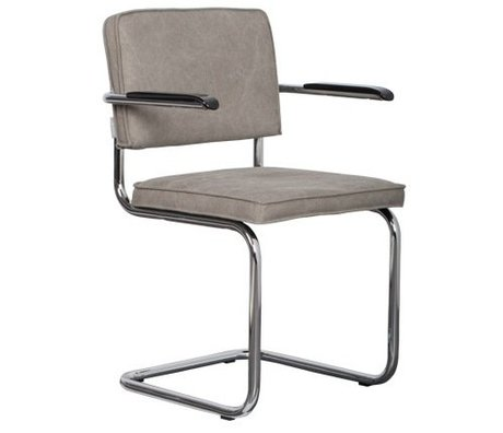 Zuiver Dining chair with armrest gray / green cotton 48x48x85cmRidge Vintage arm worn green