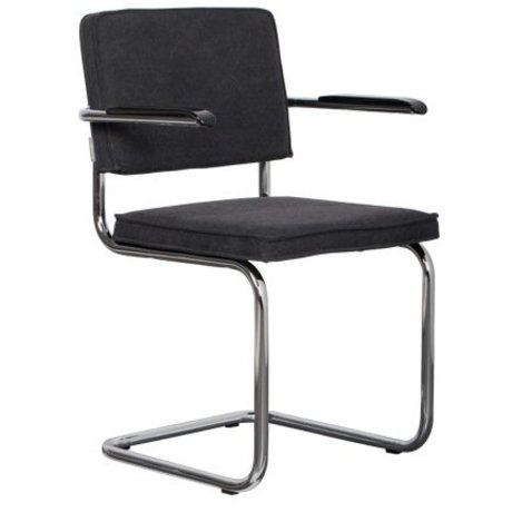 Zuiver Dining chair with armrest anthracite gray cotton 48x48x85cm, Vintage Ridge arm charcoal