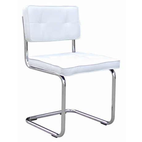 LEF collections Dining chair 'Ruby' white PU leather / metal 85X46X46cm