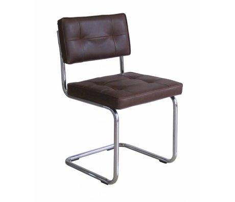 LEF collections Dining chair 'Ruby' brown PU leather / metal 85X46X46cm