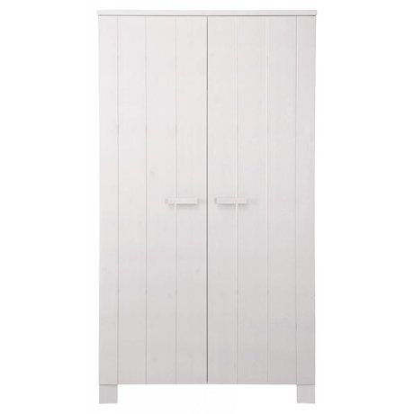 LEF collections Wardrobe 'Robin' white brushed pine 202X111X55cm