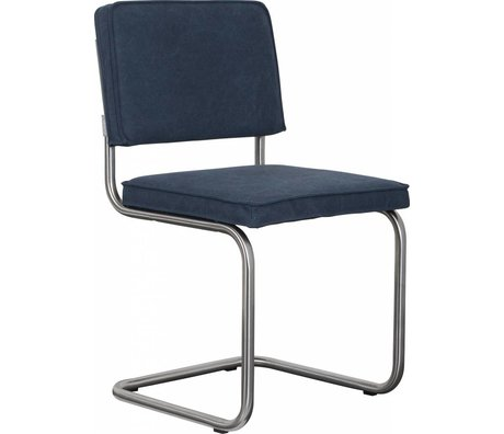 Zuiver Dining chair brushed tubular frame navy blue cotton 48x48x85cm, Chair Ridge brushed vintage sailor blue