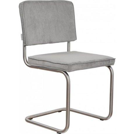 Zuiver chaise de salle à manger brossé châssis tubulaire frais 48x48x85cm tricot gris, président Ridge frais gris brossé nervure 32A