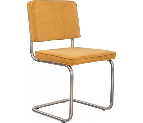 Zuiver Dining chair brushed tubular frame yellow knit 48x48x85cm, Chair Ridge brushed yellow rib 24A