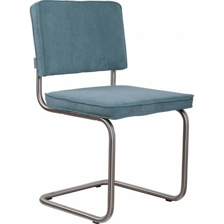 Zuiver Dining chair brushed tubular frame blue knit 48x48x85cm, Chair Ridge brushed blue rib 12A