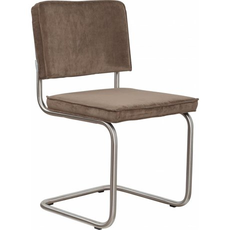 Zuiver Dining chair brushed tubular frame coffee brown corduroy 48x48x85cm, Chair Ridge brushed rib coffee 8A