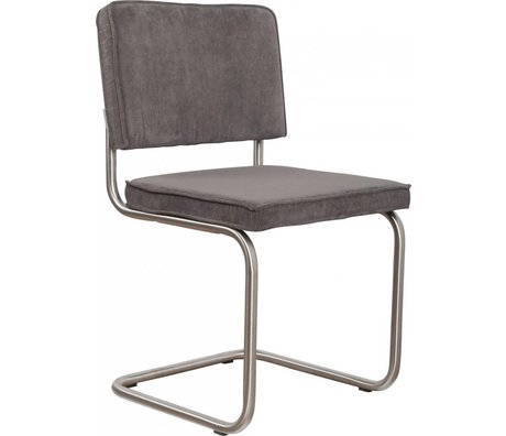 Zuiver Dining chair brushed gray knit tube frame 48x48x85cm, Chair Ridge brushed rib gray 6A
