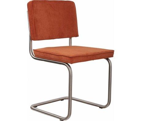 Zuiver Dining chair brushed tubular frame orange knit 48x48x85cm, Chair Ridge brushed rib orange 19A