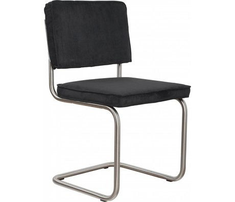 Zuiver chaise de salle à manger brossé noir tricot 48x48x85cm de châssis en tube, président Ridge brossé 7A nervure noir