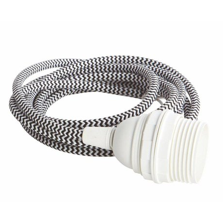 Housedoctor Electrical cord with E27, white / black fabric wire, white cap, iron cord