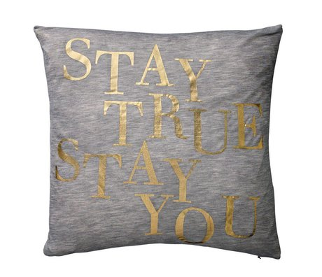 Bloomingville Cushion cotton gray with text gold foil print, 40x40cm