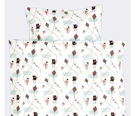 Ferm Living Duvet Kite white / pink / mint green cotton-70x100cm Baby