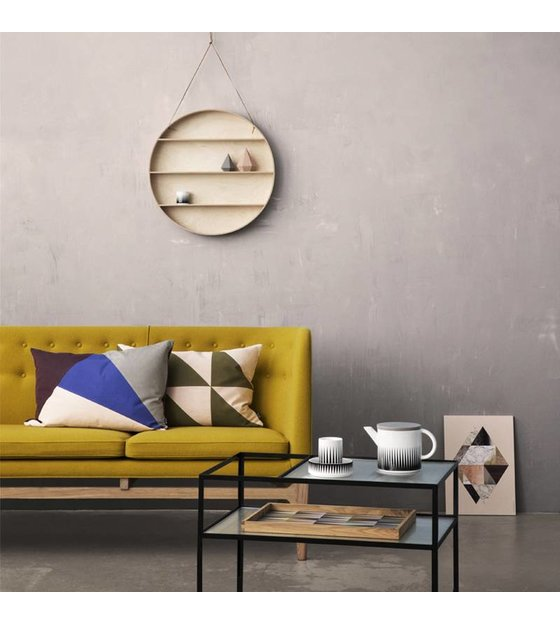 ferm living wandkastje the round dorm naturel triplex 55 cm met leren veter. Black Bedroom Furniture Sets. Home Design Ideas