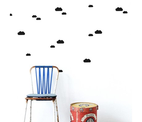 Ferm Living Wall Decals Mini Clouds black vinyl 27 pieces of A4