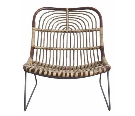 Housedoctor Lounge stoel 'Kawa' metaal/rattan zwart/bruin 73x62x65 cm
