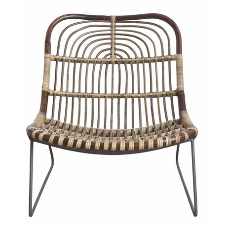 "Housedoctor Chaise longue ""Kawa"" métal / rotin noir / brun 73x62x65 cm"