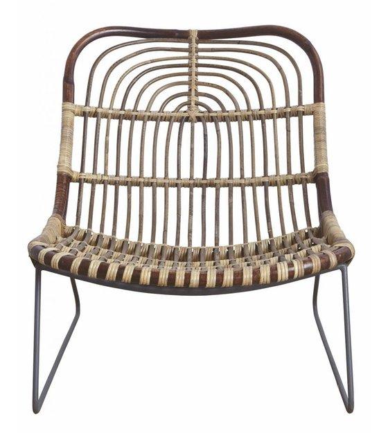 housedoctor lounge stoel 39 kawa 39 metaal rattan zwart bruin 73x62x65 cm. Black Bedroom Furniture Sets. Home Design Ideas