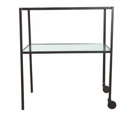 Housedoctor Trolley metal / glass black 50x70x80cm