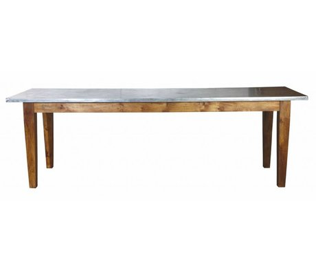 Housedoctor Dining table 'Workstation' wood / galvanized metal brown / gray 240x71x76 cm