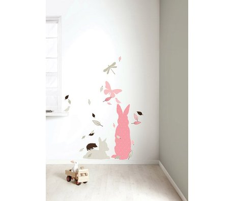 KEK Amsterdam Wall Sticker Set 'Kaninchen XL GIRLS' pink / braun Vinyl