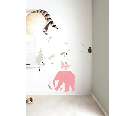 KEK Amsterdam Wall Sticker set 'Elephant XL GIRLS' pink / brown vinyl