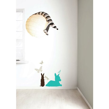 "KEK Amsterdam Wall Sticker Set ""Deer BOYS 'blau / braun Vinyl"