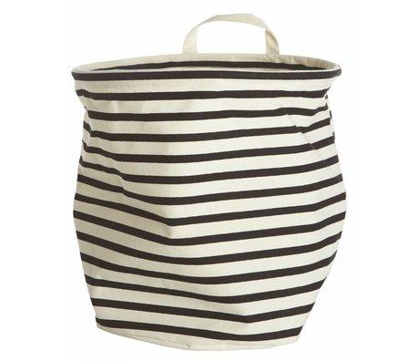 Housedoctor Opberger 'Stripes' textiel wit/zwart Ø30x30cm katoen/polyester/rayon