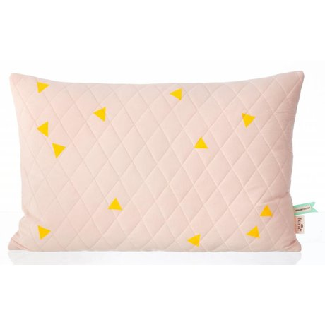 "Ferm Living Cushion ""Teepee Quilted Cushion Rose"" organic cotton jersey 60x40cm pink / yellow"