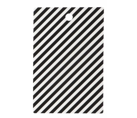 Ferm Living Snijplank 'Cutting Board Stripe' zwart/wit gelamineerd berkenfineer 19.5x29.5cm