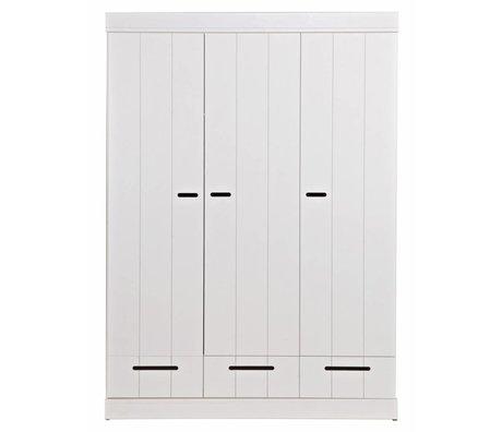 LEF collections Kledingkast 'Connect' 3 deurs strokendeur met lades wit grenen 195X140X53cm