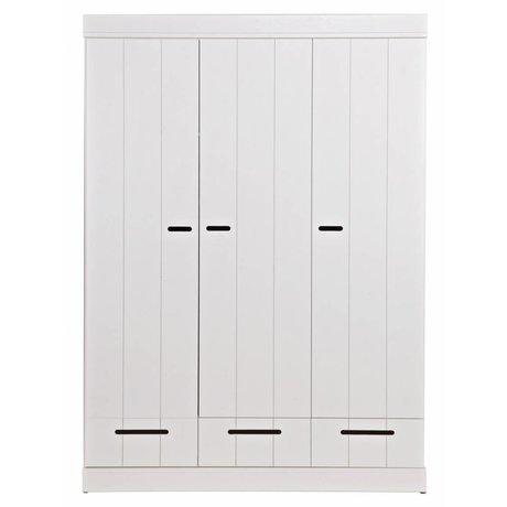 LEF collections Kleiderschrank 'Connect' 3 Türleisten Tür mit Schubladen weiß Kiefer 195X140X53cm