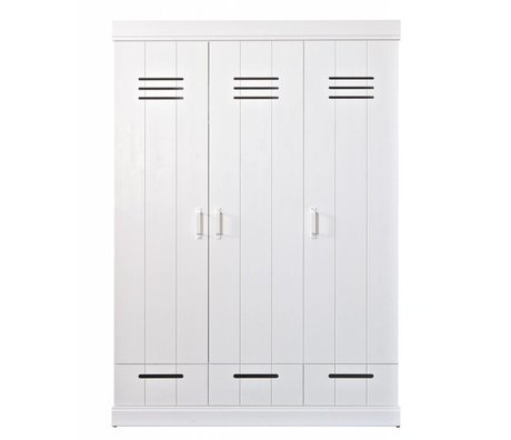 LEF collections Wardrobe 'Connect' 3 door locker door with drawers white pine 195X140X53cm