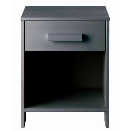 LEF collections Nightstand 'Dennis' steel gray brushed pine 40x34x52cm