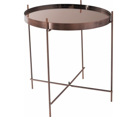Zuiver Occasional table 'Cupid' copper metal glass Ø43x45cm