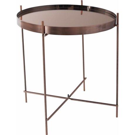 Zuiver Bijzettafel 'Cupid' koper metaal glas Ø43x45cm