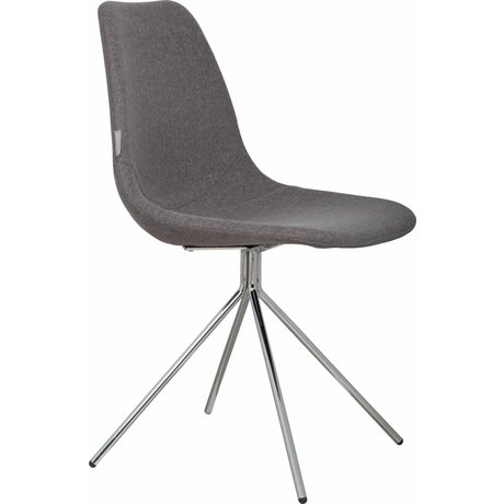 Zuiver Dining chair 'Fourteen up' gray / silver fabric / chrome 46x54x83cm