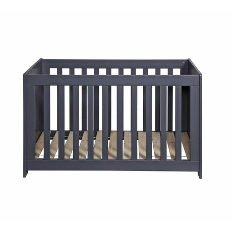 LEF collections Cot 'New Life' brushed steel gray pine 66x125x79cm