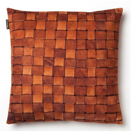 Snurk Beddengoed Sierkussen hoes 'Heather leather' bruin leer 50x50cm