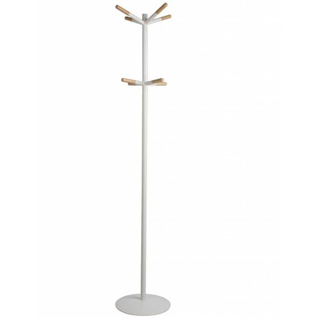 Zuiver Kapstok wooden tip white, hout gedipt wit 39,5x175,5cm