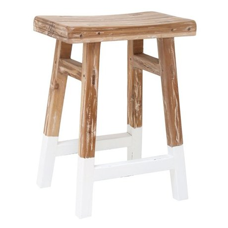HK-living Stool reclaimed teak wood with white dip 25x42x54cm